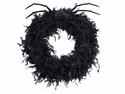"20"" Feather Wreath and Spider with Hanger - Set of 3 - Halloween"