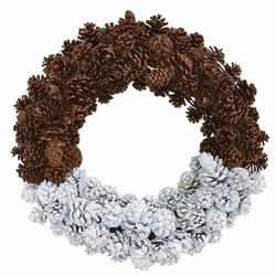 """20"""" Frosted Artificial Pine Cone Wreath"""