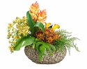 "20"" Silk Phalaenopsis Orchid, Protea, Ginger and Calla Lily Arrangement in Ceramic Vase"