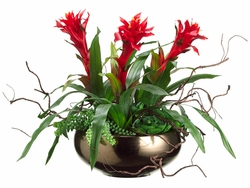"21"" Artificial Bromeliad/Sedum/Hen and Chicks Arrangement in Ceramic Bowl"