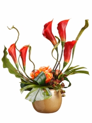 "21"" Artificial Calla Lily, Silk Rose and Sedum Pick in Ceramic Pot"