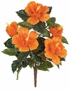 """21"""" Outdoor Artificial Polyblend Hibiscus Flower Bush - Set of 12 - UV INfused"""