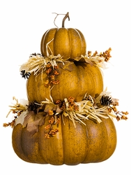 "21"" Stacking Artificial Pumpkin With Berry and Pine Cone Decor Arrangement"