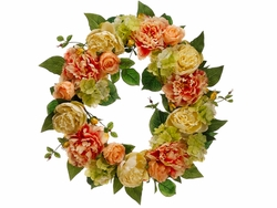 "22"" Artificial Silk Peony and Hydrangea Wreath - Set of 4"