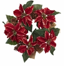 22� Poinsettia, Pine Cone & Burlap Wreath