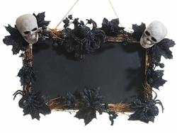 "22"" Pumpkin and Skull Chalkboard Wall Decor - Halloweeen"