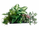 "22"" Silk Hosta Plant, Fern Bush, Philodendron Plant, Artificial Grass and Kalanchoe Flower Stems Arragement in Bamboo Tray"
