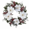 "22"" Artificial Snowed Magnolia Flower & Berry Wreath Arrangement"