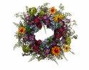 "24"" Artificial Daisy, Ranunculus,Petunia  Flowers and Hydrangea Wreath Mixed - Set of 2"