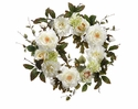 "24"" Artificial Peony, Silk Dahlia's and Rose Flower Wreath - Set of 2"