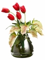 "24"" Artificial Tulip Flowers, Protea and Anthurium Arrangment in Glass Vase"