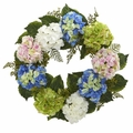 24� Silk Flower Hydrangea Wreath Arrangement