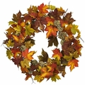 24� Artificial Maple Pine Cone Wreath - Fall