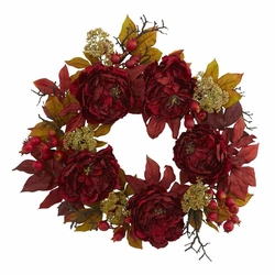 "24"" Peony Sedum Wreath Flower Arrangement"