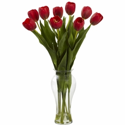 "24"" Tulips with Vase - Red"