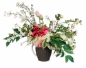 """25"""" Artificial Phalaenopsis Orchids, Tulips, Rose's and Blossom Arrangement in Ceramic Pitcher"""
