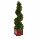 26� Cedar Spiral Artificial Topiary Tree in Red Ceramic Cube -