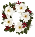 26� Magnolia Flower, Pine and Berries Artificial Wreath