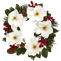 """26"""" Magnolia Flower, Pine and Berries Artificial Wreath"""