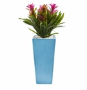 26� Triple Bromeliad Artificial Plant in Turquoise Tower Vase - Purple