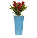 26� Triple Bromeliad Artificial Plant in Turquoise Tower Vase - Red
