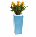 26� Triple Bromeliad Artificial Plant in Turquoise Tower Vase - Yellow