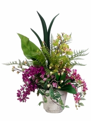 "27"" Artificial Phalaenopsis Orchid, Cymbidium Orchid and Oncidium Tropical Arrangement in Terra Pot"