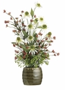 "27"" Artificiasl Rustic Coneflower, Daisy,Baby's Breath Arrangement in Ceramic Pot"