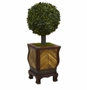 27� Boxwood Ball Topiary Artificial Tree in Decorative Planter -