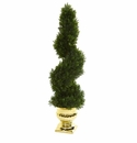 27� Cedar Spiral Artificial Topiary Tree in Gold Urn (Indoor/Outdoor) -