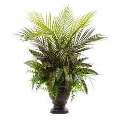 "27"" Mixed Areca Palm, Fern & Peacock with Planter"