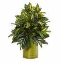 28� Mixed Greens Artificial Plant in Green Tin Planter