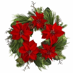 "28"" Poinsettia Flower and Pine Artificial Wreath"