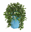 28� Stephanotis Artificial Plant in Turquoise Planter -