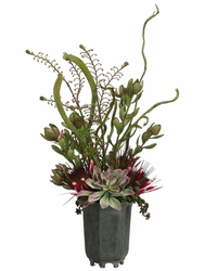"29"" Artificial Protea Flower, Sedum Vines and Echeveria Cactus Arrangement in Resin Pot"