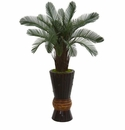 3.5� Cycas Artificial Tree in Bamboo Planter UV Resistant (Indoor/Outdoor) -
