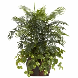 3.5' Double Areca in Decorative Vase & Pothos Silk Plant