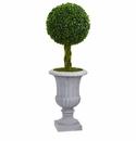 3� Braided Boxwood Topiary Artificial Tree in Gray Urn UV Resistant (Indoor/Outdoor) -