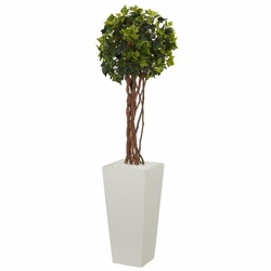 3' English Ivy Artificial Tree in White Tower Planter UV Resistant (Indoor/Outdoor)