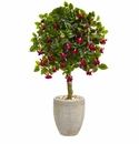 3� Fuschia Artificial Tree in Sand Colored Oval Planter -