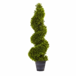 3' Grass Spiral Topiary w/Deco Planter