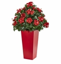 3� Hibiscus Artificial Plant in Red Planter -