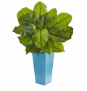 3� Large Leaf Philodendron Artificial Plant in Turquoise Planter (Real Touch) -