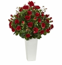 3� Rose Bush Artificial Plant in White Tower Vase -