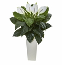 3� Spathyfillum Artificial Plant in White Tower Planter Arrangement