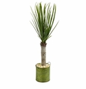 3� Yucca Artificial Tree in Green Tin Planter -