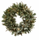 30� Lighted Frosted Pine Wreath