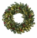 30� Lighted Pine Wreath w/Berries & Pine Cones