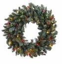 30� Pine Wreath w/Colored Lights
