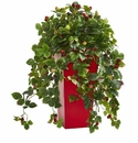 30� Rasberry Artificial Plant in Red Tower Planter -